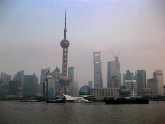 in front of the wonderful Shanghai skyline.
